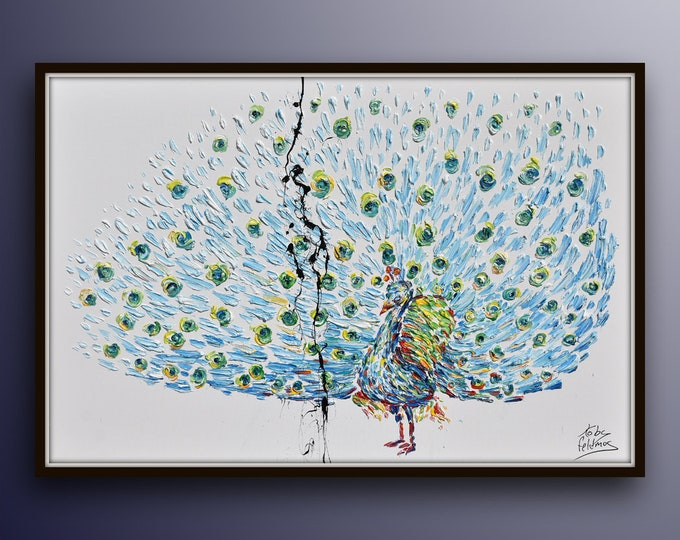 """Beauty of Peacock 40"""" Oil painting Thick texture extremely beautiful relaxing original art by Worldwide famous artist koby Felmos"""