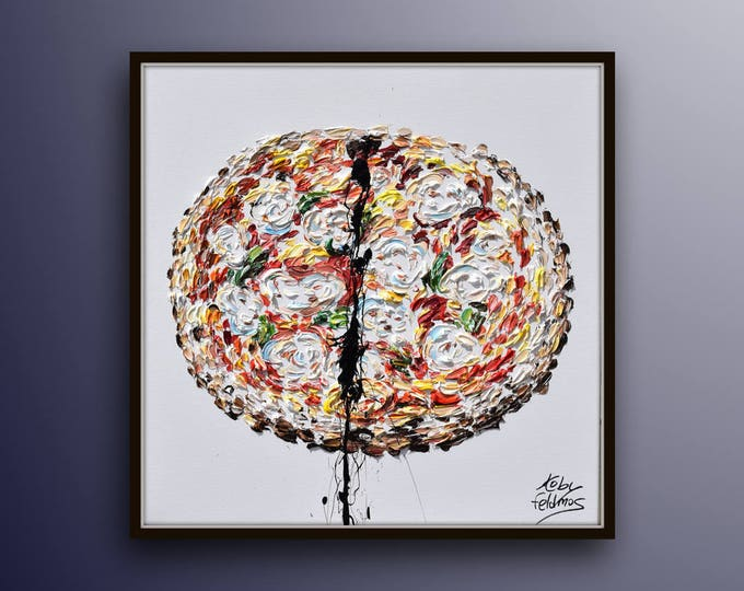 """PIZZA ! 25"""" Beautiful painting of beloved food cheese pizza with crust and mozzarella,Italian Pizza, oil painting on canvas by Koby Feldmos"""