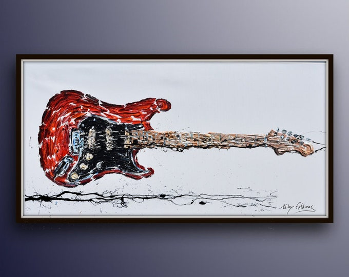 """Amazing Guitar Oil Painting 67"""" beautiful Composition and Colors , Original & Handmade , thick oil paint texture ,by Koby Feldmos"""