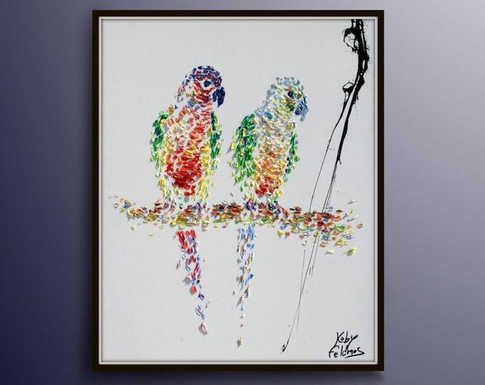 "Parrot Painting 40 ""  Anima Bird Oil Painting of  Beautiful Brazilian Parrot , Natural Calming colors, Original & Handmade,  By Koby Feldmos"