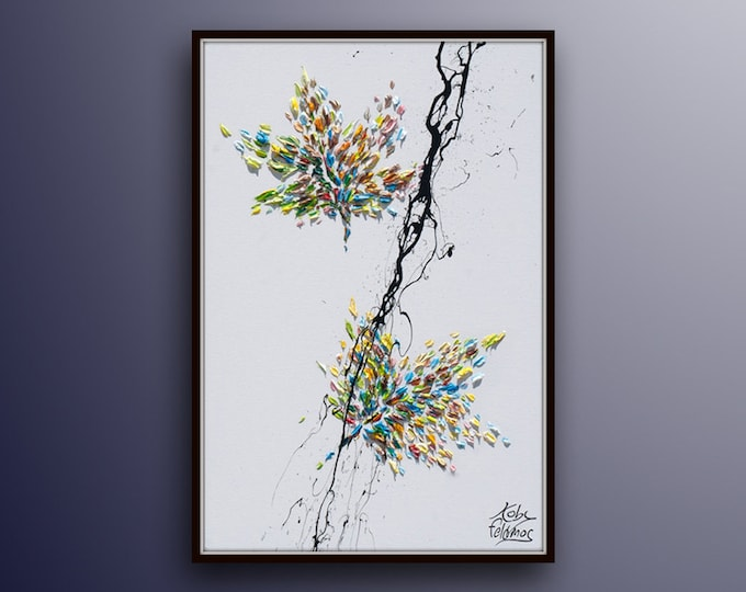 """leaves 30"""" , Green Leaves  Beautiful relaxing oil painting on canvas, Calming pastel colors, by Koby Feldmos"""
