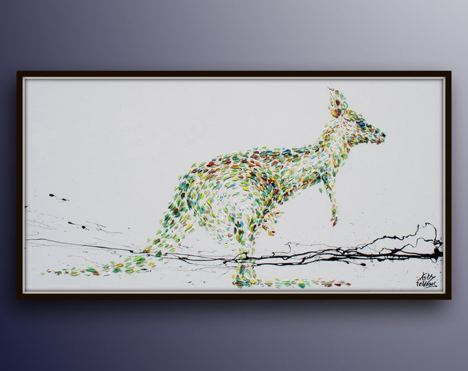 """Kangaroo Painting Animal 55""""  Large painting green colors touches of red, Australia animal beautiful for living room, by Koby Feldmos"""