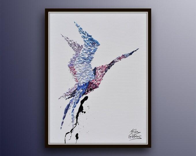 "Bird 40"" Animal Painting, original artwork on canvas, handmade painting, contemporary art by Koby Feldmos"