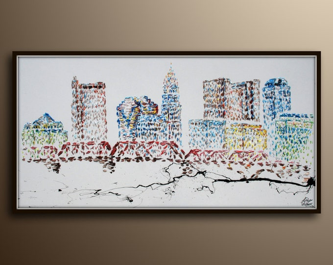 """Painting 67"""" Skyline painting,  original oil painting on canvas, Cityscape painting, buildings, skyscrapers, luxury artwork by koby feldmos"""