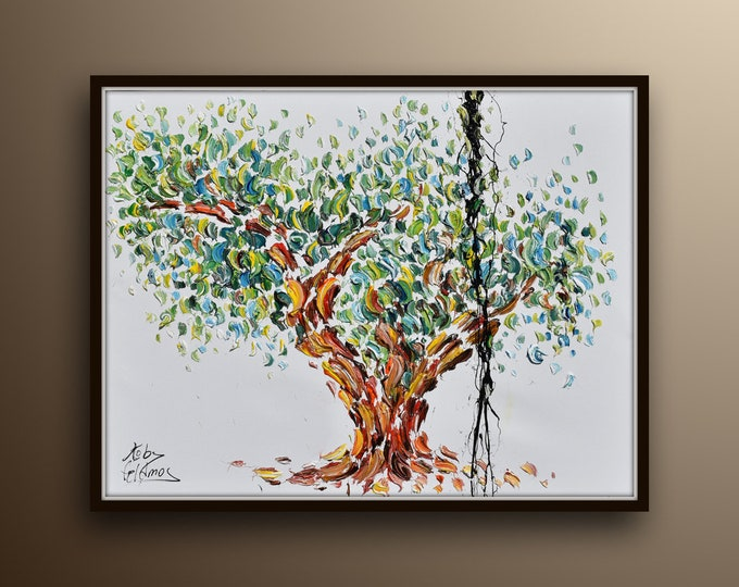 """Olive Tree 40"""" original oil painting on canvas, thick oil paint, modern art, impasto style, canvas painting, by Koby Feldmos"""