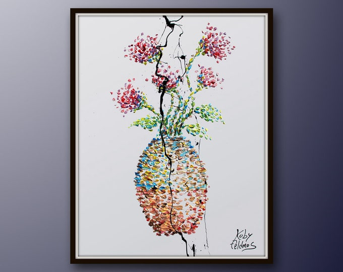 """40"""" oil Vase with flowers painting Original painting on canvas, original and hand made painting, Express shipping, By Koby Feldmos"""