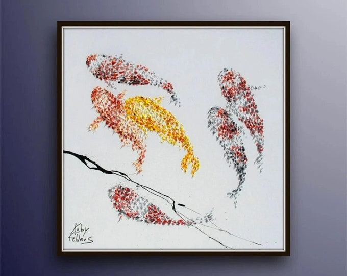 """Painting 35"""" Koi fish for Luck - Feng shui painting, Modern, luxury looks, thick layers, Express shipping worldwide, by Koby Feldmos"""