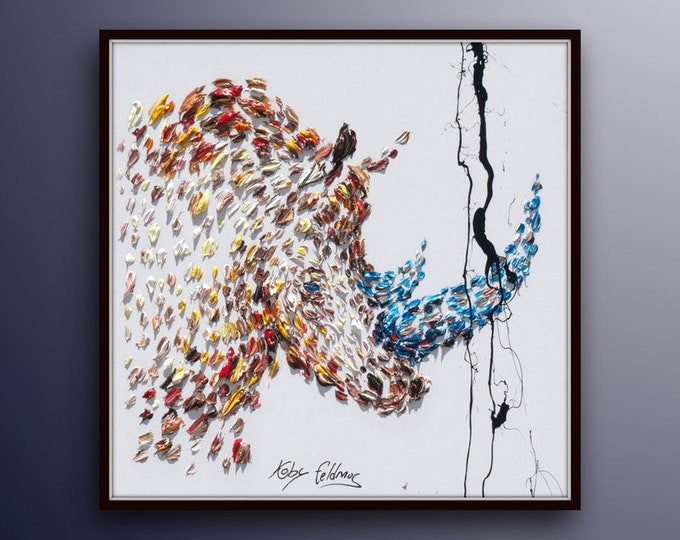 """Oil Painting Rhino 35"""" Animal Painting on Canvas, Abstract Art , Thick paint , Original HandMade art, Certificate Attached, By Koby Feldmos"""