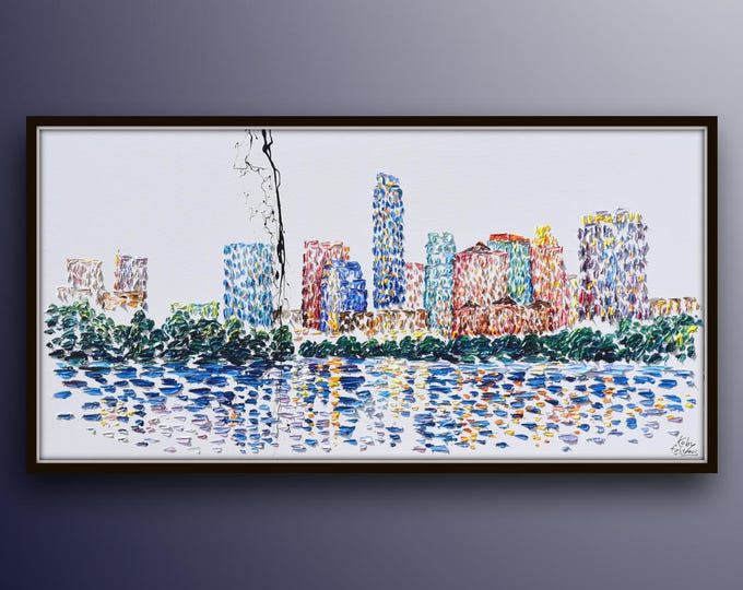"""Cityscape painting 55"""" Skyline of Austin, Texas AMAZING beautiful rich of texture , original painting by Koby Feldmos"""