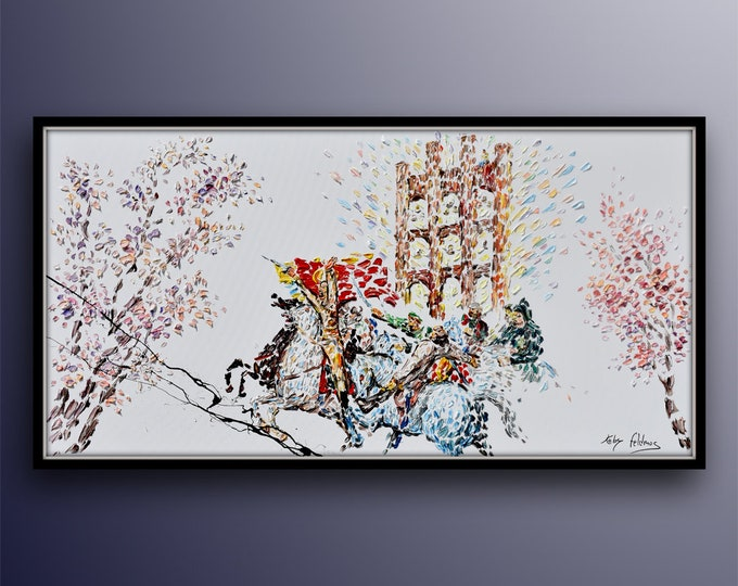 """Abstract painting,  67"""" original oil painting on canvas, horses & fighters, battle in ancient times,  by Koby Feldmos"""