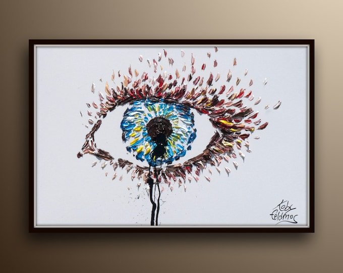 """Eye Painting 40"""" - Original & Hand Made Oil Painting on Canvas, Thick paint,  Express shipping, By Koby Feldmos"""
