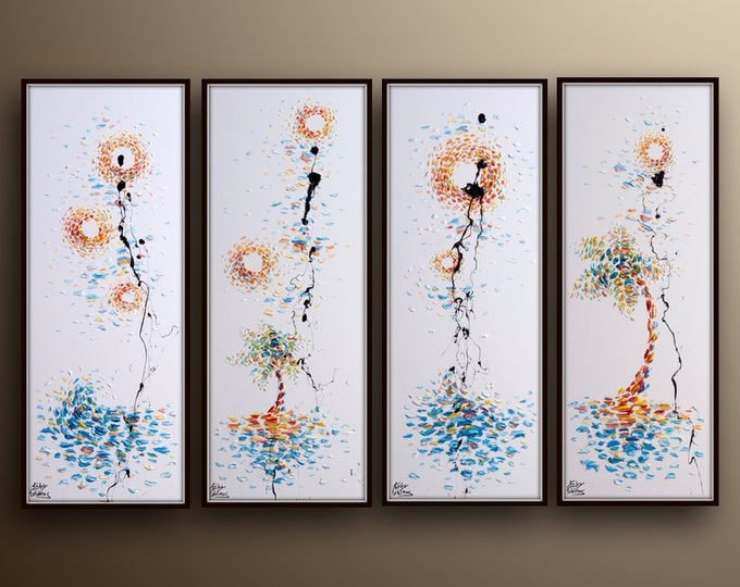 """Luxury 4 painting set, 45"""" x 23"""", original oil painting on canvas, Modern contemporary art, by Koby Feldmos"""