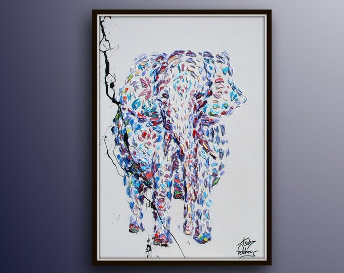 """Cambodian Elephant oil Painting 40"""" Beautiful very unique colors, Lots of texture, cute for any room, calming painting, By Koby Feldmos"""