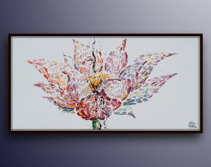 """Lotus Flower painting 55"""" Original oil painting on canvas,  Art Nouveau Style, beautiful rich colors, Handmade by Koby Feldmos"""