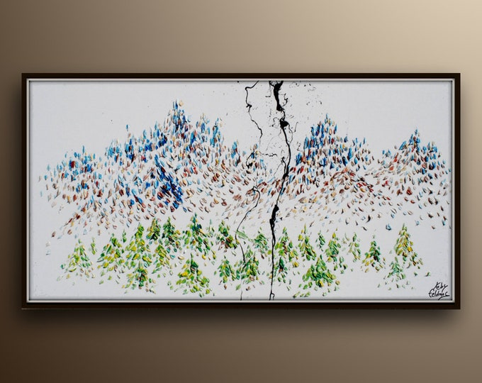 """Mountain nature painting 55""""  Trees and Mountain Relaxing calming composition,  Original oil painting, by Koby Feldmos"""