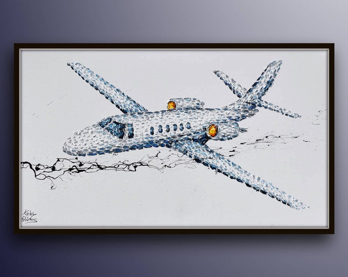 """Painting 55"""", Bravo 550 Flight in mid air , impressive and powerful artwork, original oil painting on canvas by Koby Feldmos"""