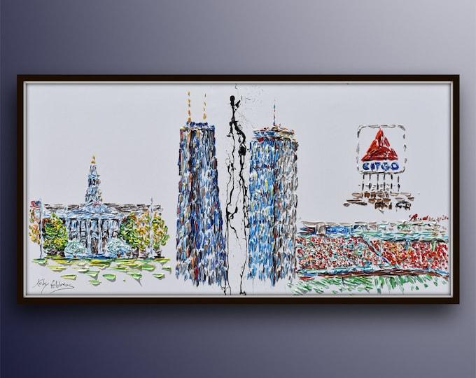 "Boston Skyline 67"" - Hancock tower, Prudential center, CITGO sign, Harvard Business School building, original oil painting, By Koby Feldmos"