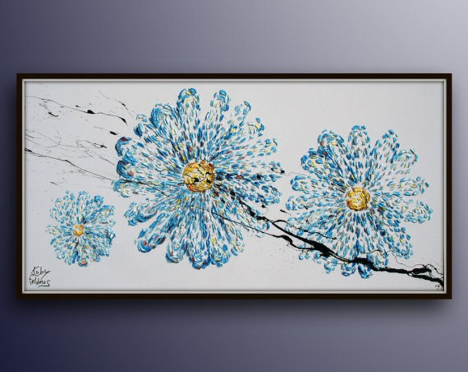 """Flowers 55"""" Original oil painting on canvas, hand made, relaxing blue colors, Large artwork, floral, handmade by Koby Feldmos"""