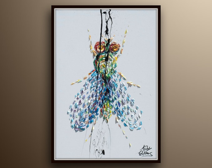 """Fly painting 40"""" , Beautiful Artistic textured fly bug insect, Colorful art Animal painting, oil painting on canvas, by Koby Feldmos"""