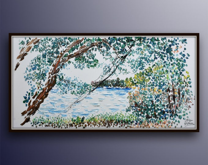 """Landscape painting 55"""" River beautiful tree , pastoral relaxing view, rich in texture, By Koby Feldmos"""