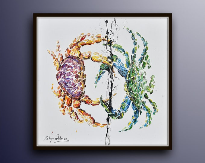 """Crab Fight 35"""" original oil painting on canvas, beautiful thick texture, crab fight composition, Cold purple and green colors,  Koby feldmos"""