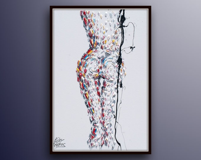 """Nude woman painting 40"""" female painting sexy body, original oil painting on canvas, by Koby Feldmos"""