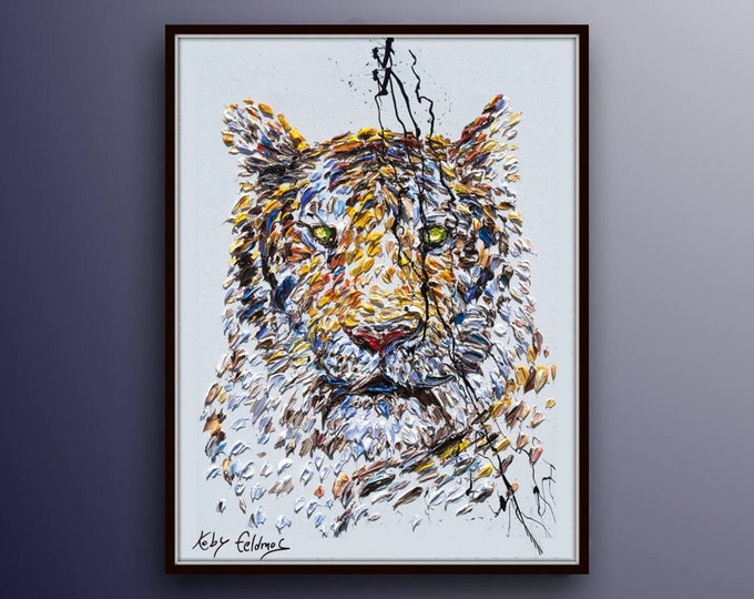 """Painting Animal 40""""  Tiger Original oil painting on canvas, Handmade painting, ready to hang, thick oil paint, by Koby Feldmos"""