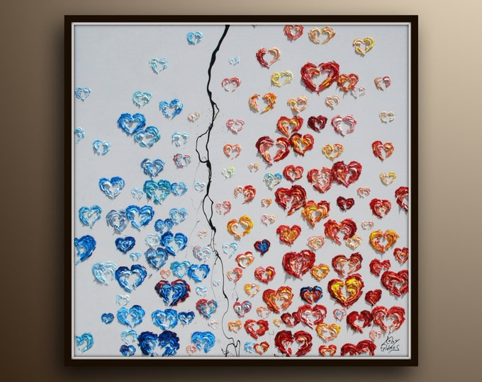 """Painting 35""""  Beautiful Painting of Hearts Blue red colors, Extremely unique and special, for living room and bedroom by Koby Feldmos"""