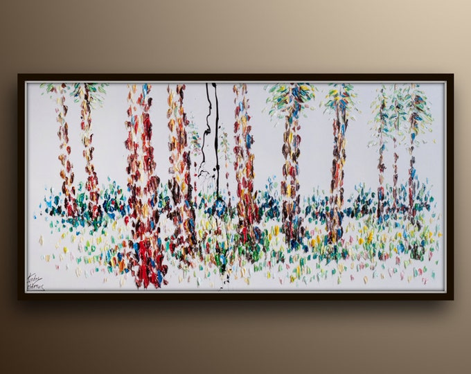 """Birch Forest 55"""" painting, oil on canvas,  beautiful landscape, Full of texture and colors,  by Koby Feldmos"""