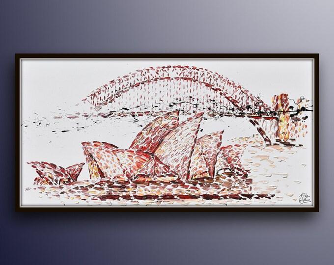 "Sydney Skyline 67"" , original oil painting on canvas, rich texture, large canvas, luxury looks, handmade artwork by Koby Feldmos"