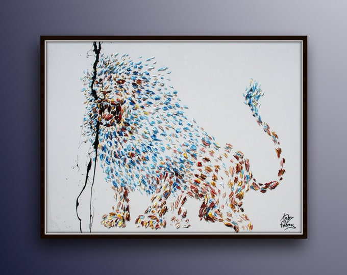 """Painting 40""""  Lion original oil Painting  on canvas, power, strength, king of the jungle, , Modern Art , Express Shipping, By Koby Feldmos"""