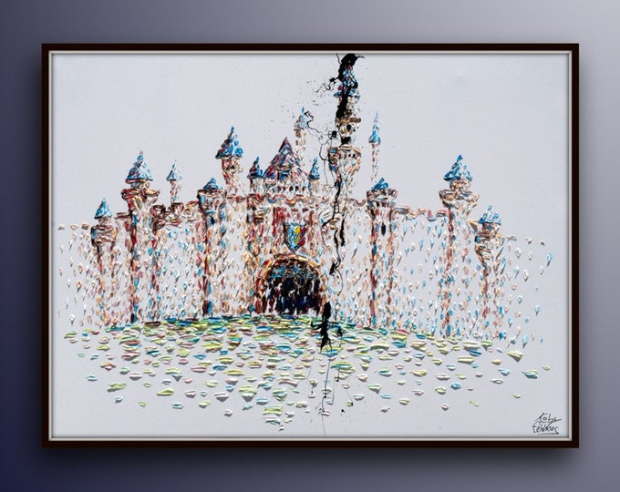 """Castle Palace Huge 60"""" x 40"""" painting and AMAZING !! painting Thick layers impressive and Extremely beautiful, oil on canvas by Koby Feldmos"""