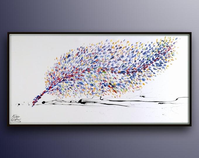 "Purple Painting 67"" - Writing Feather , Original & Hand made oil Painting of a Feather, Large Painting, modern art, By Koby Feldmos"
