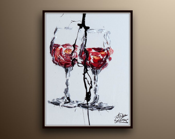 """Painting 30"""" Red Wine original oil painting gift idea for all occasions handmade by Koby feldmos"""