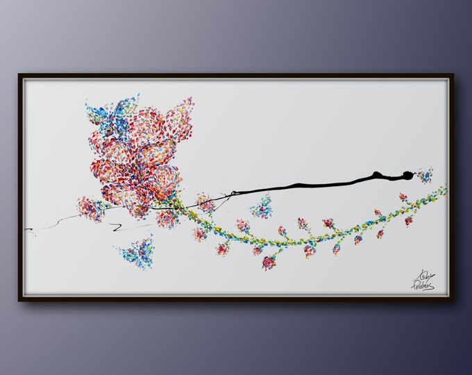 """Flowers and butterflies 55"""" Oil Painting, Original Hand Made Art Canvas, painting, Abstract Modern Style, By Koby Feldmos"""