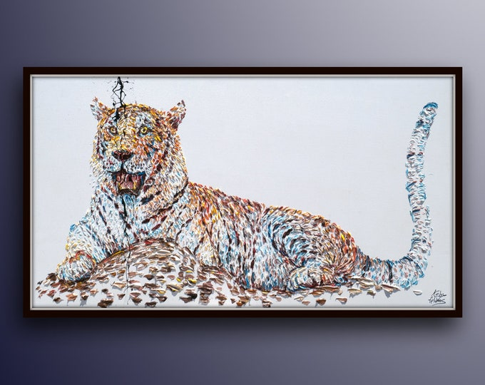 """Painting Animal 67""""  Tiger Original oil painting on canvas, Handmade painting, ready to hang, thick oil paint, by Koby Feldmos"""