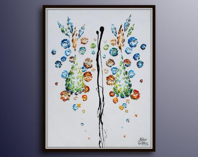 "Abstract Mirror painting, 40"" , Original handmade oil painting on canvas, Contemporary art, Modern, 2015, Koby Feldmos"