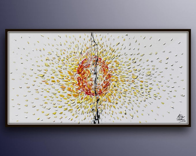 """AMAZING ! Sun painting 55"""" , original oil painting of the sun, warm colors of yellow orange and red, beautiful texture by Koby Feldmos"""