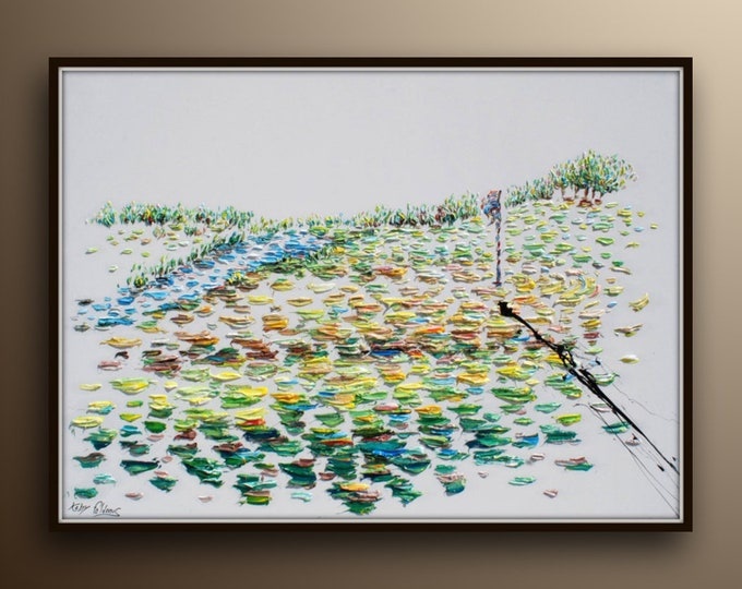 """HUGE PAINTING !! Golf painting 60 x 40"""" beautiful original hand made oil painting of Golf course game Sport ball by Koby Feldmos"""
