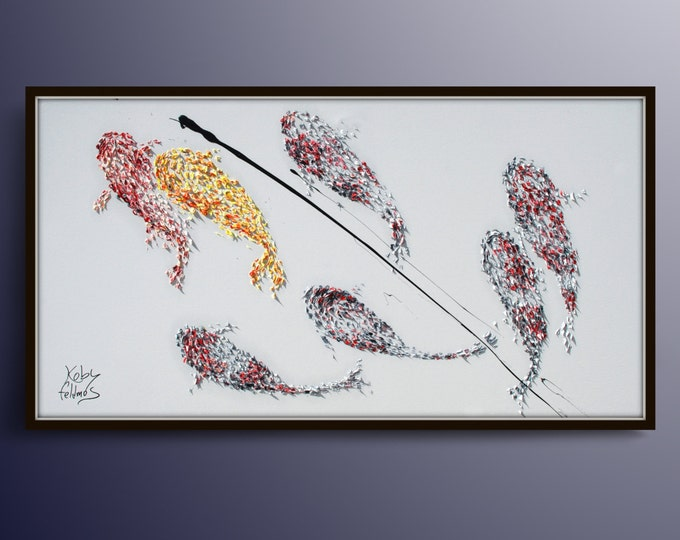 """Koi fish 67"""" Feng shui luck painting, oil Painting on canvas for good luck, number 8 luck, Original Handmade art, By Koby Feldmos"""