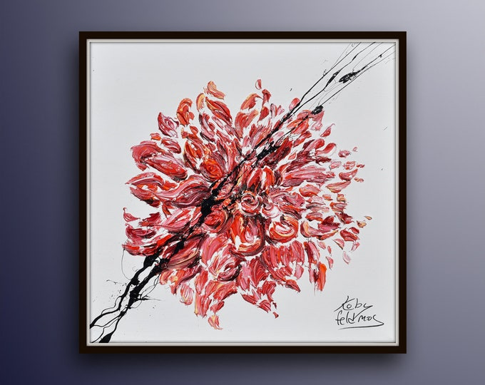 """Dahlia Flower 25"""" original oil painting on canvas, beautiful thick texture, red color, original art by Koby Feldmos"""
