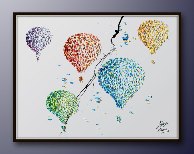 """Painting 40"""" Hot Air Balloons, Optimistic colorful and handmade oil painting on canvass, Express shipping worldwide, By Koby Feldmos"""