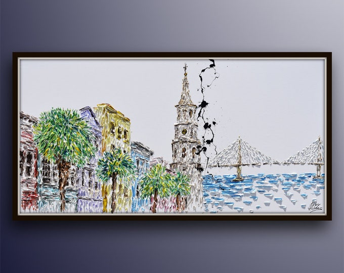 """Charleston Skyline painting 67"""" - original oil painting on canvas, thick oil paint layers, beautiful  composition, art collage, Koby Feldmos"""