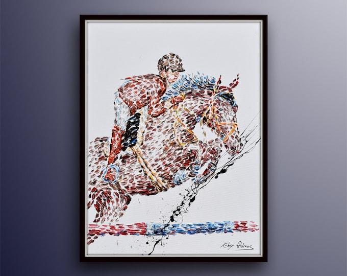 "Show jumping 50"" horse Jockey ,jumping English riding, animal oil painting Fine art by Koby Feldmos"