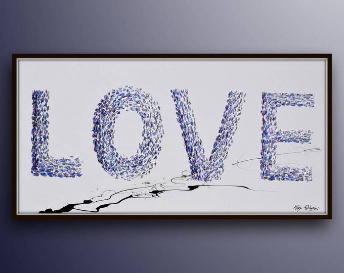 """Painting 55""""  Love painting, romantic gift, valentine wedding gift, Love Word, Beautiful purple Amazing above bed, By Koby Feldmos"""