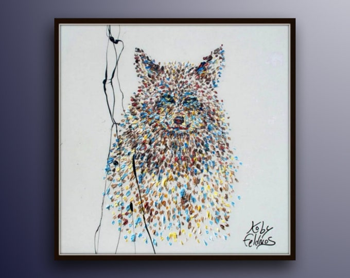 """Wolf Painting 35"""" Amazing expression of the smart wolf, Original & Hand Made Oil painting , Modern art , impasto style By Koby Feldmos"""