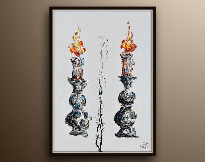 "Candles 40"" Shabbath, Religious art, holyland art  jewish artwork, Judaica art, Kiddush candle, fire, art for home, judaica gift , Koby"
