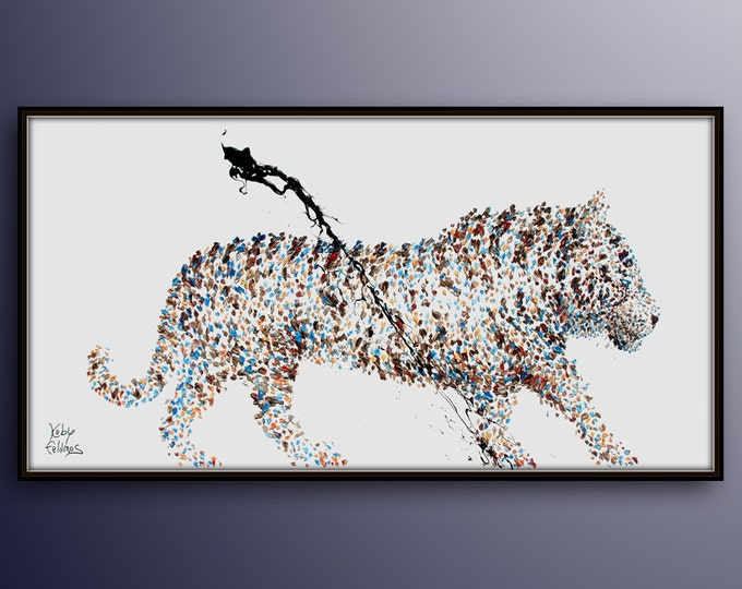 """Painting Animal 55"""" White Tiger Original oil painting on canvas, Handmade painting, ready to hang, thick oil paint, by Koby Feldmos"""