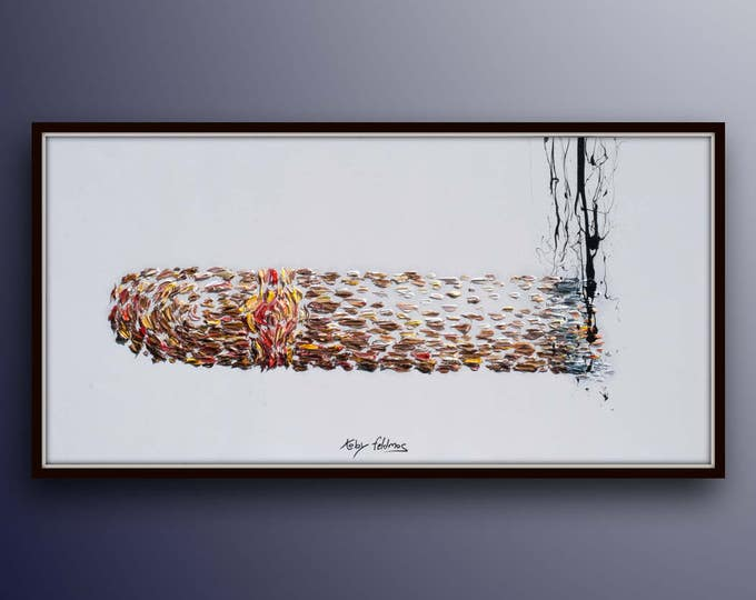 """Cigar 55"""" painting, beautiful cigar painting, original oil painting on canvas, Burning Cigar with smoke oil painting by Koby Feldmos"""