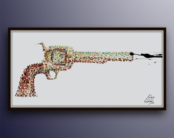 """Shooting Gun 55"""" Pop Art style, thick oil paint impasto style modern Art on canvas , Express shipping worldwide, By Koby Feldmos"""